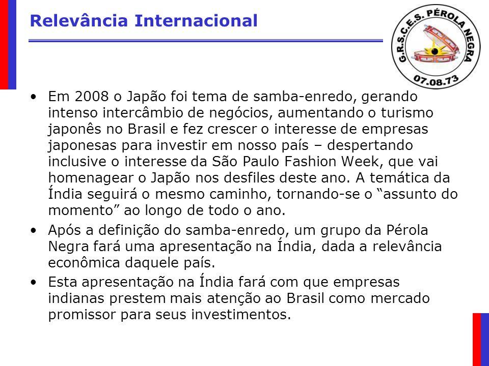 Relevância Internacional Em 2008 o Japão foi tema de samba-enredo, gerando intenso intercâmbio de negócios, aumentando o turismo japonês no Brasil e f