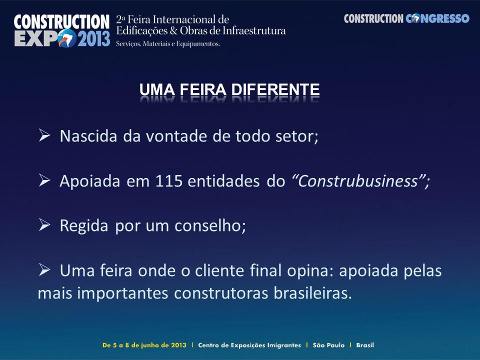 Nascida da vontade de todo setor; Apoiada em 115 entidades do Construbusiness; Regida por um conselho; Uma feira onde o cliente final opina: apoiada pelas mais importantes construtoras brasileiras.