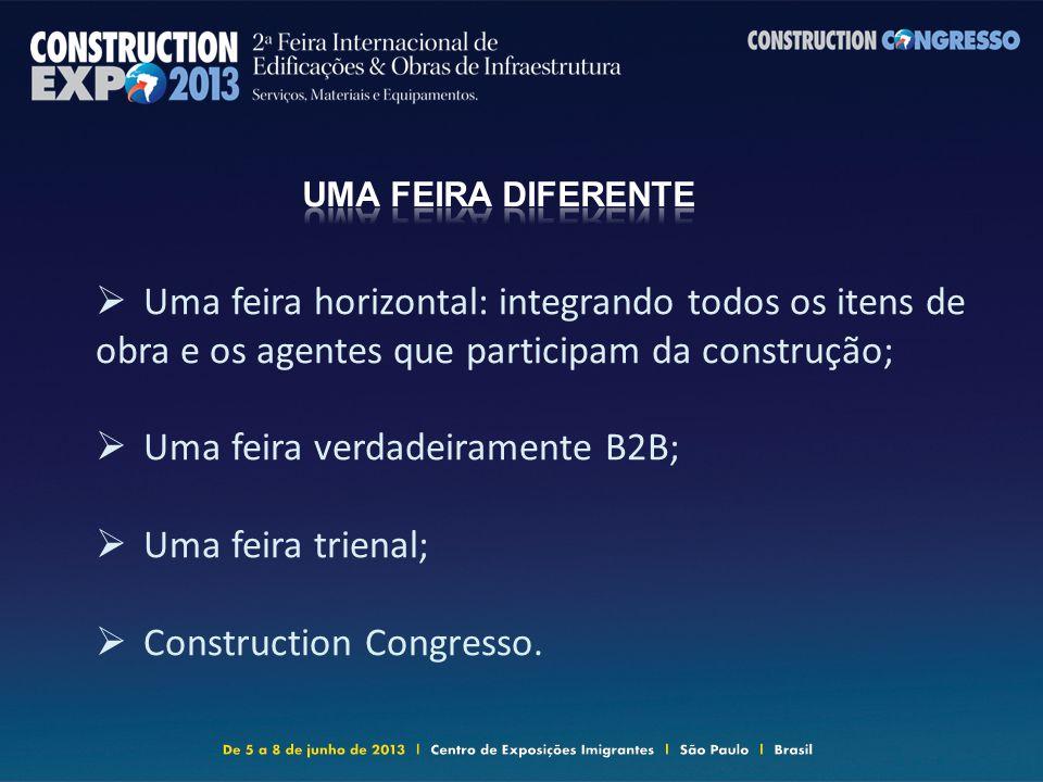 Uma feira horizontal: integrando todos os itens de obra e os agentes que participam da construção; Uma feira verdadeiramente B2B; Uma feira trienal; Construction Congresso.