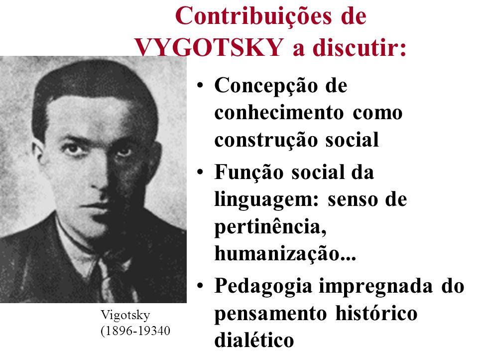 Vigotsky (1896-19340 Contribuições de VYGOTSKY a discutir: Concepção de conhecimento como construção social Função social da linguagem: senso de perti