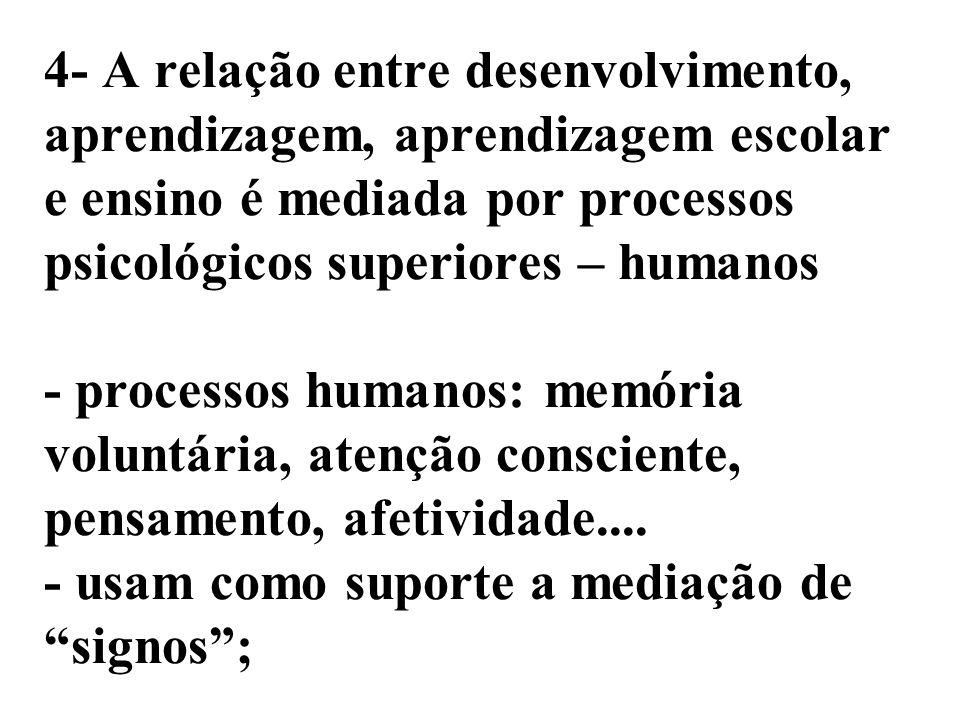 4- A relação entre desenvolvimento, aprendizagem, aprendizagem escolar e ensino é mediada por processos psicológicos superiores – humanos - processos