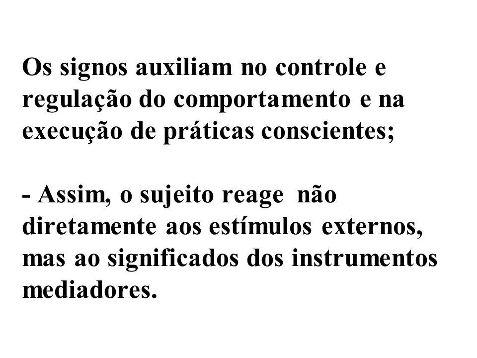 Os signos auxiliam no controle e regulação do comportamento e na execução de práticas conscientes; - Assim, o sujeito reage não diretamente aos estímu