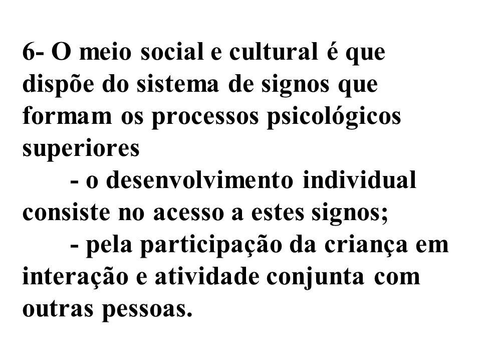 6- O meio social e cultural é que dispõe do sistema de signos que formam os processos psicológicos superiores - o desenvolvimento individual consiste