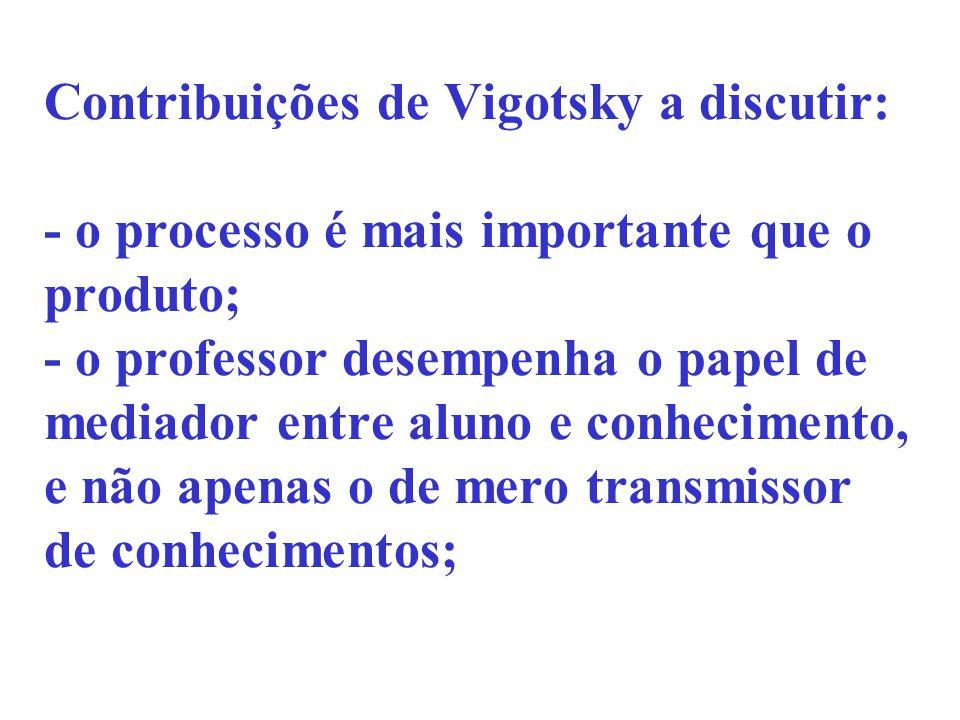 Contribuições de Vigotsky a discutir: - o processo é mais importante que o produto; - o professor desempenha o papel de mediador entre aluno e conheci