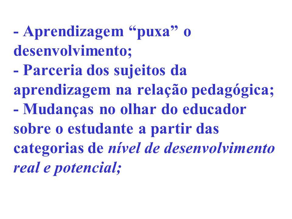 - Aprendizagem puxa o desenvolvimento; - Parceria dos sujeitos da aprendizagem na relação pedagógica; - Mudanças no olhar do educador sobre o estudant