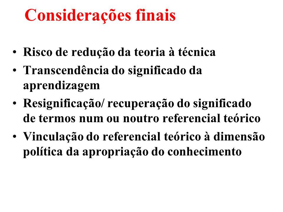 Considerações finais Risco de redução da teoria à técnica Transcendência do significado da aprendizagem Resignificação/ recuperação do significado de