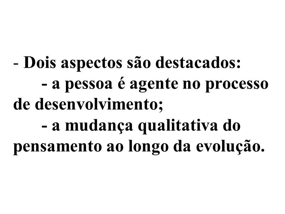 - Dois aspectos são destacados: - a pessoa é agente no processo de desenvolvimento; - a mudança qualitativa do pensamento ao longo da evolução.