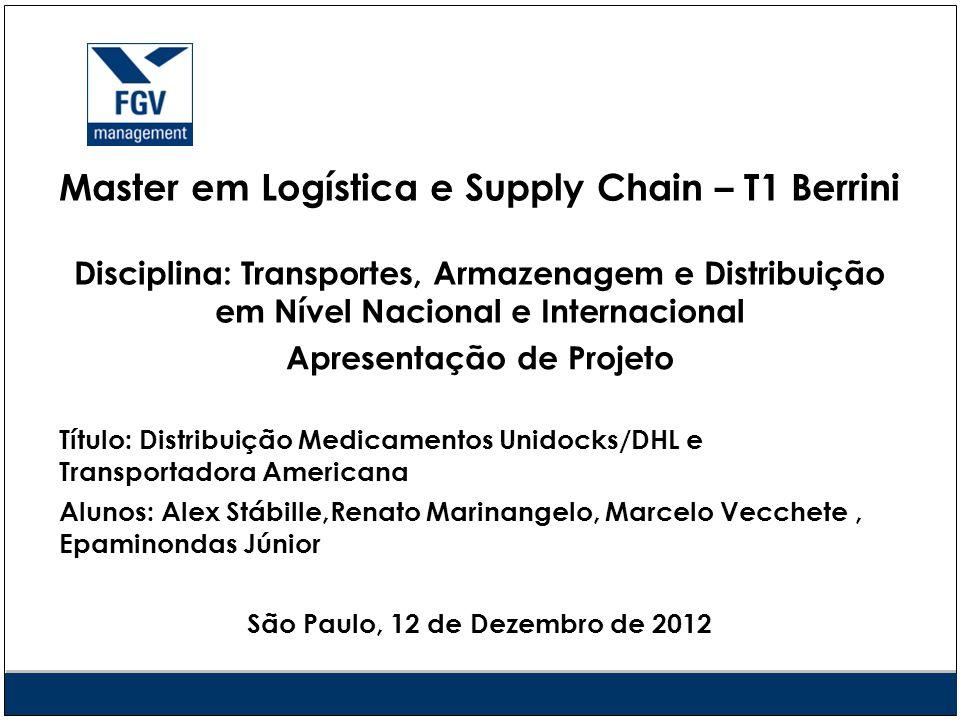 Master em Logística e Supply Chain – T1 Berrini Disciplina: Transportes, Armazenagem e Distribuição em Nível Nacional e Internacional Apresentação de