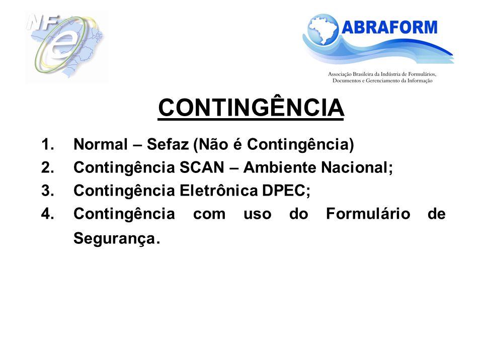1.Normal – Sefaz (Não é Contingência) 2.Contingência SCAN – Ambiente Nacional; 3.Contingência Eletrônica DPEC; 4.Contingência com uso do Formulário de