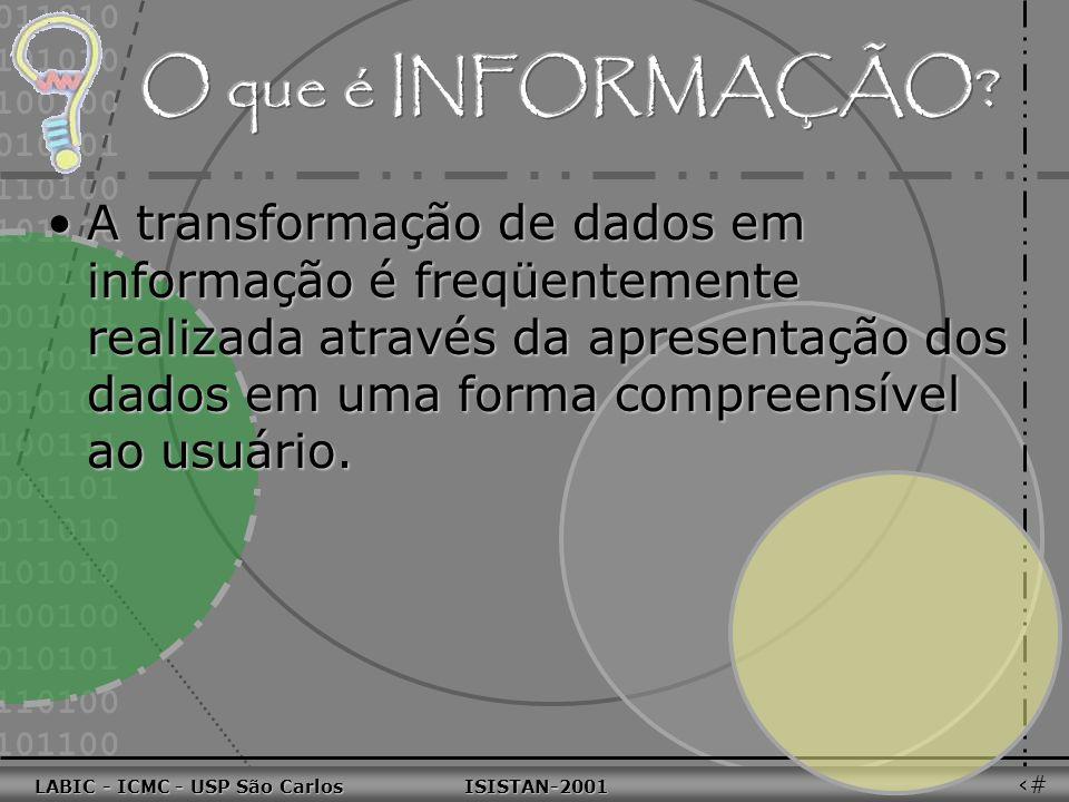 011010 101010 100100 010101 110100 101100 100101 001001 010011 010101 100111 001101 011010 101010 100100 010101 110100 101100 LABIC - ICMC - USP São Carlos ISISTAN-2001 LABIC - ICMC - USP São Carlos ISISTAN-2001 36 Dado é a estrutura fundamental sobre a qual um sistema de informação é construído.Dado é a estrutura fundamental sobre a qual um sistema de informação é construído.