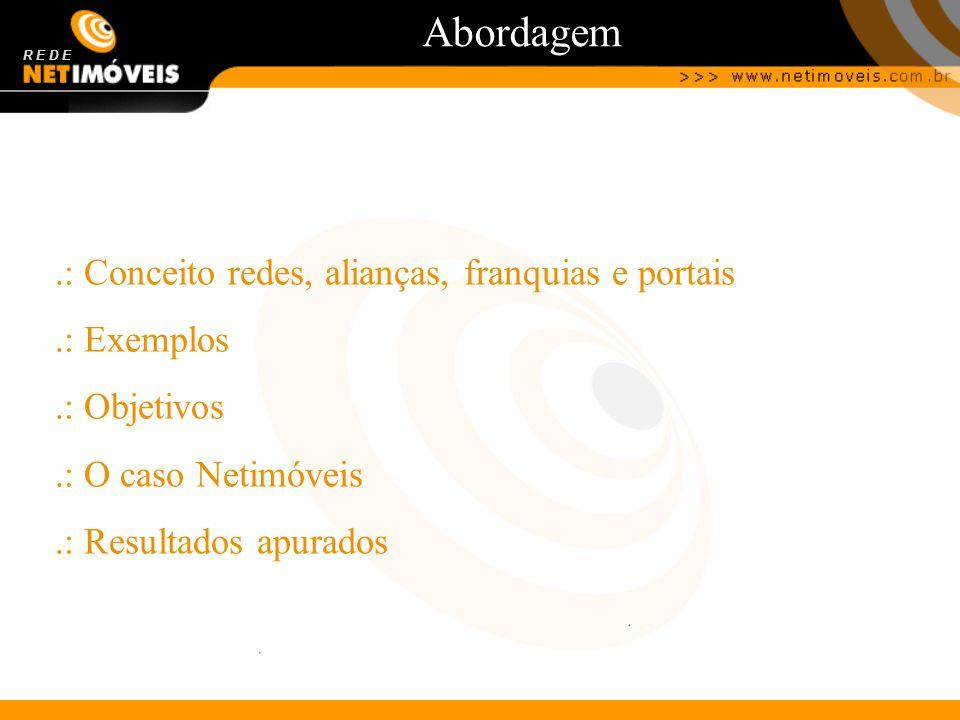 Abordagem R E D E.: Conceito redes, alianças, franquias e portais.: Exemplos.: Objetivos.: O caso Netimóveis.: Resultados apurados