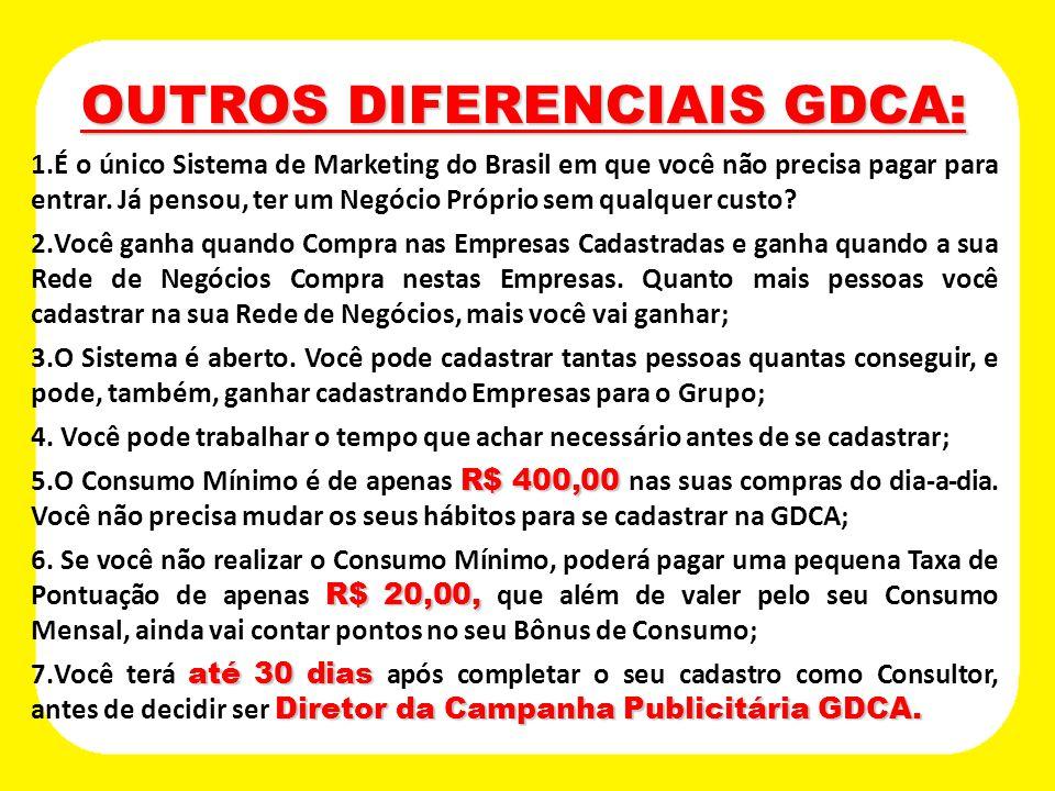 OUTROS DIFERENCIAIS GDCA: OUTROS DIFERENCIAIS GDCA: 1.É o único Sistema de Marketing do Brasil em que você não precisa pagar para entrar. Já pensou, t