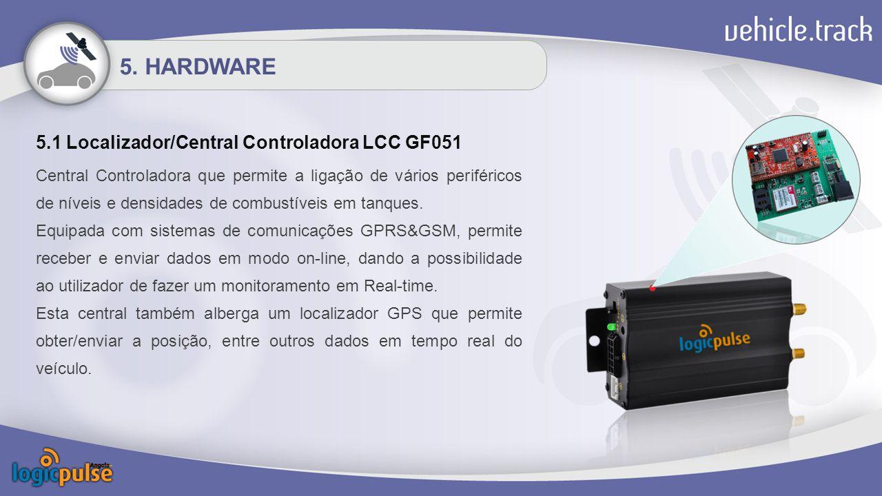 5.1 Localizador/Central Controladora LCC GF051 Central Controladora que permite a ligação de vários periféricos de níveis e densidades de combustíveis em tanques.