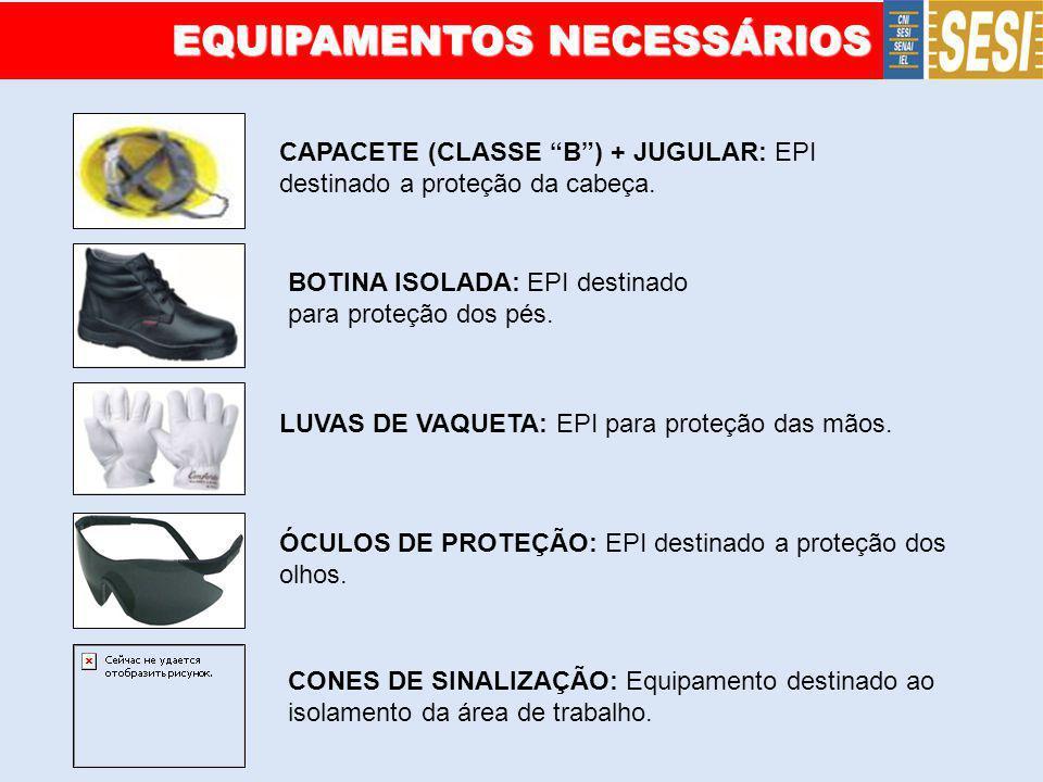 EQUIPAMENTOS NECESSÁRIOS CAPACETE (CLASSE B) + JUGULAR: EPI destinado a proteção da cabeça. BOTINA ISOLADA: EPI destinado para proteção dos pés. LUVAS