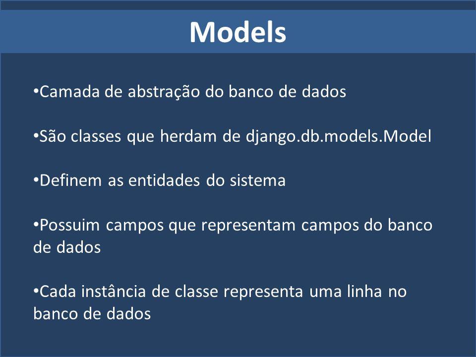 Models Camada de abstração do banco de dados São classes que herdam de django.db.models.Model Definem as entidades do sistema Possuim campos que repre