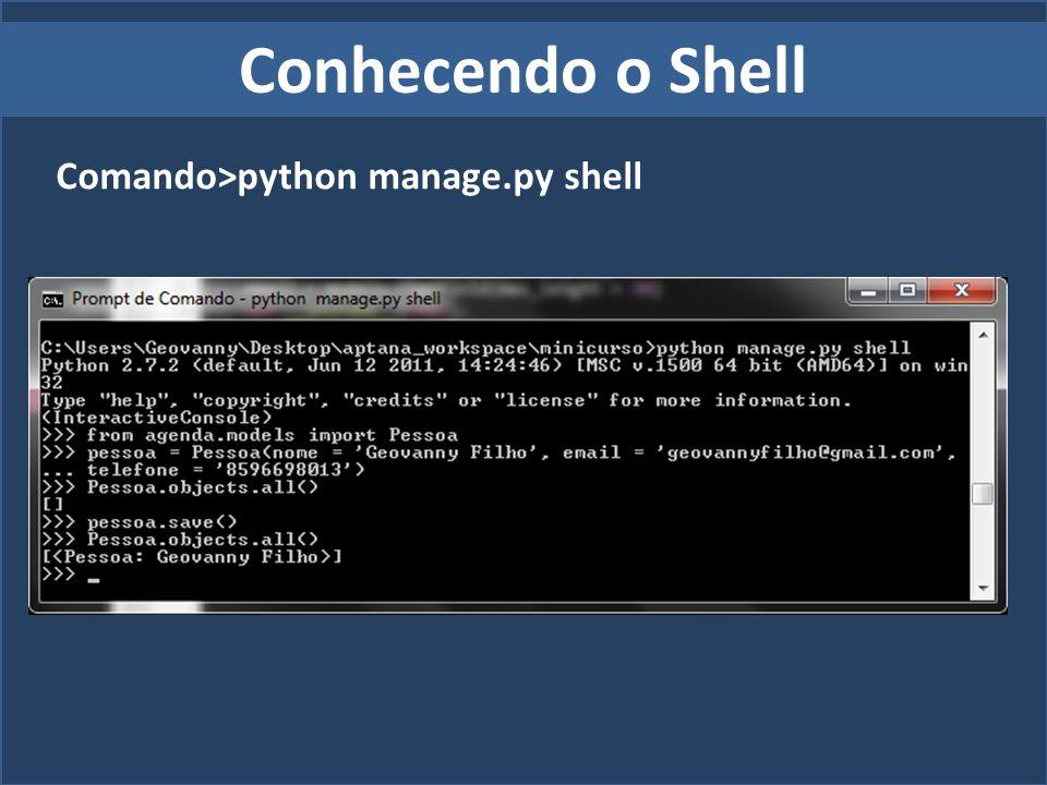 Conhecendo o Shell Comando>python manage.py shell