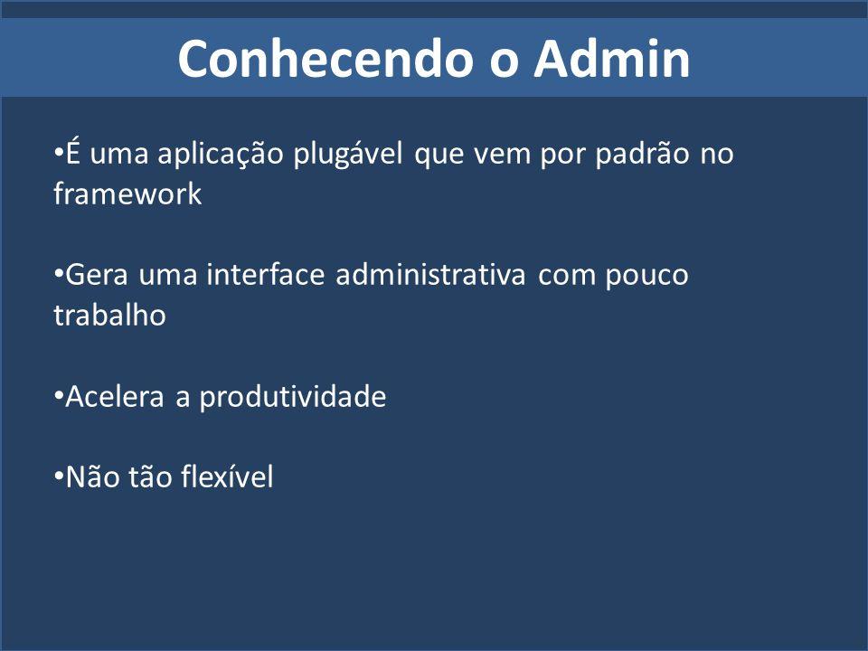 Conhecendo o Admin É uma aplicação plugável que vem por padrão no framework Gera uma interface administrativa com pouco trabalho Acelera a produtivida