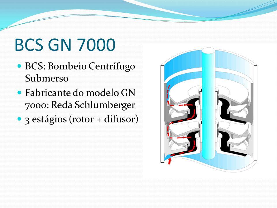 BCS GN 7000 BCS: Bombeio Centrífugo Submerso Fabricante do modelo GN 7000: Reda Schlumberger 3 estágios (rotor + difusor)