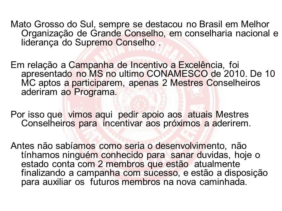 Mato Grosso do Sul, sempre se destacou no Brasil em Melhor Organização de Grande Conselho, em conselharia nacional e liderança do Supremo Conselho. Em