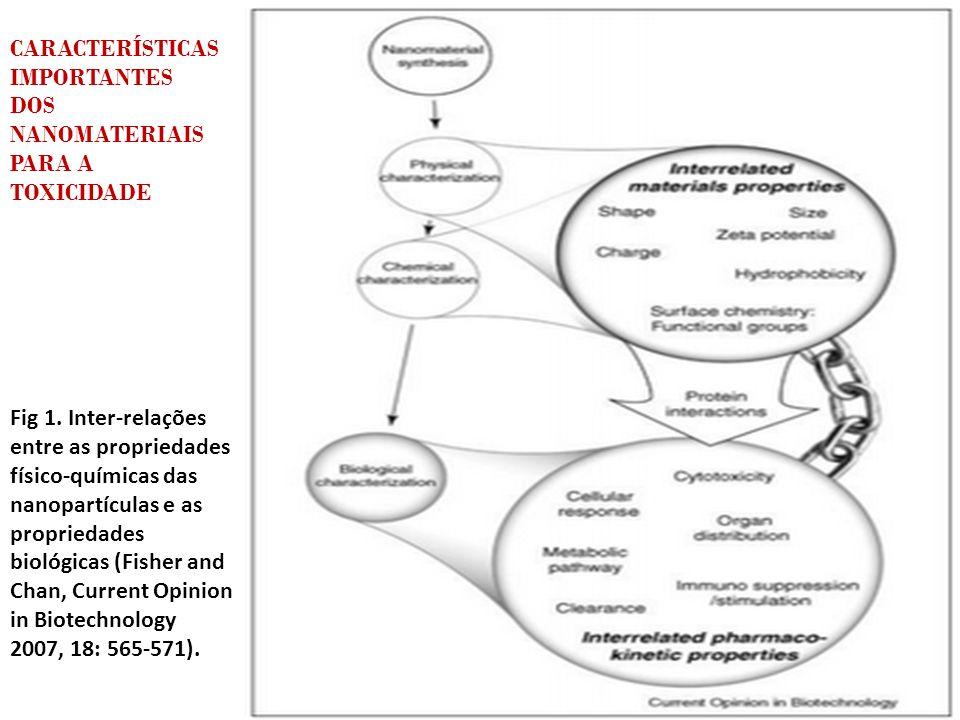 CARACTERÍSTICAS IMPORTANTES DOS NANOMATERIAIS PARA A TOXICIDADE Fig 1. Inter-relações entre as propriedades físico-químicas das nanopartículas e as pr