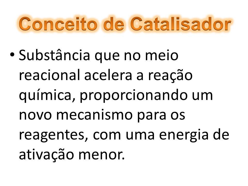 CATALISADOR Todo catalisador possui em comum as seguintes características: Não sofre alteração permanente na sua massa ou na sua composição (é integralmente recuperado no final da reação).