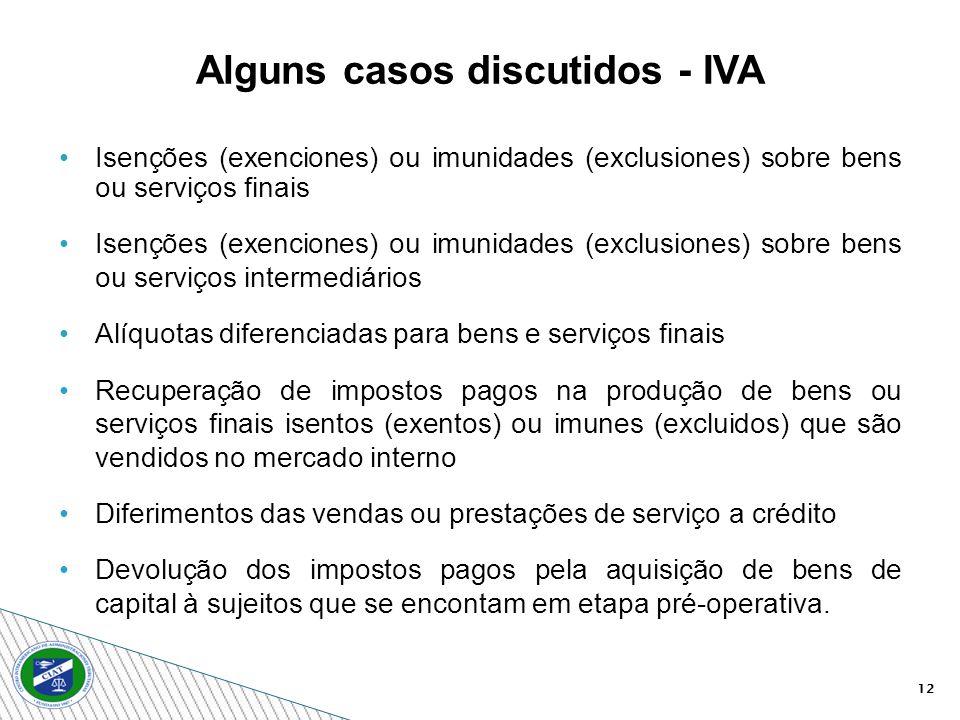 12 Isenções (exenciones) ou imunidades (exclusiones) sobre bens ou serviços finais Isenções (exenciones) ou imunidades (exclusiones) sobre bens ou ser