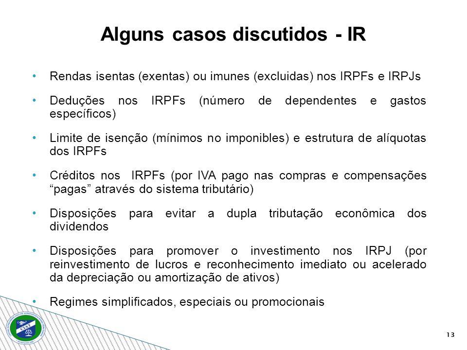 13 Rendas isentas (exentas) ou imunes (excluidas) nos IRPFs e IRPJs Deduções nos IRPFs (número de dependentes e gastos específicos) Limite de isenção (mínimos no imponibles) e estrutura de alíquotas dos IRPFs Créditos nos IRPFs (por IVA pago nas compras e compensações pagas através do sistema tributário) Disposições para evitar a dupla tributação econômica dos dividendos Disposições para promover o investimento nos IRPJ (por reinvestimento de lucros e reconhecimento imediato ou acelerado da depreciação ou amortização de ativos) Regimes simplificados, especiais ou promocionais Alguns casos discutidos - IR