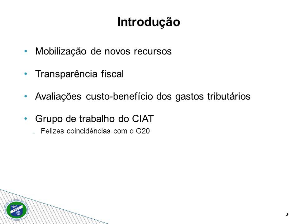 3 Mobilização de novos recursos Transparência fiscal Avaliações custo-benefício dos gastos tributários Grupo de trabalho do CIAT Felizes coincidências com o G20 Introdução