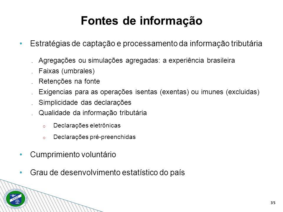35 Estratégias de captação e processamento da informação tributária Agregações ou simulações agregadas: a experiência brasileira Faixas (umbrales) Ret