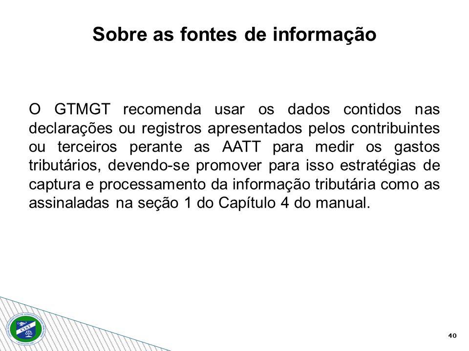 40 O GTMGT recomenda usar os dados contidos nas declarações ou registros apresentados pelos contribuintes ou terceiros perante as AATT para medir os g