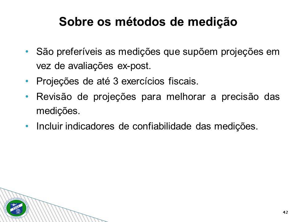 42 Sobre os métodos de medição São preferíveis as medições que supõem projeções em vez de avaliações ex-post. Projeções de até 3 exercícios fiscais. R