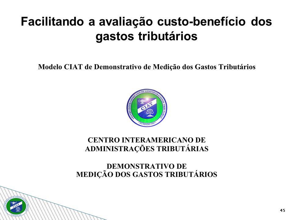 45 Facilitando a avaliação custo-benefício dos gastos tributários