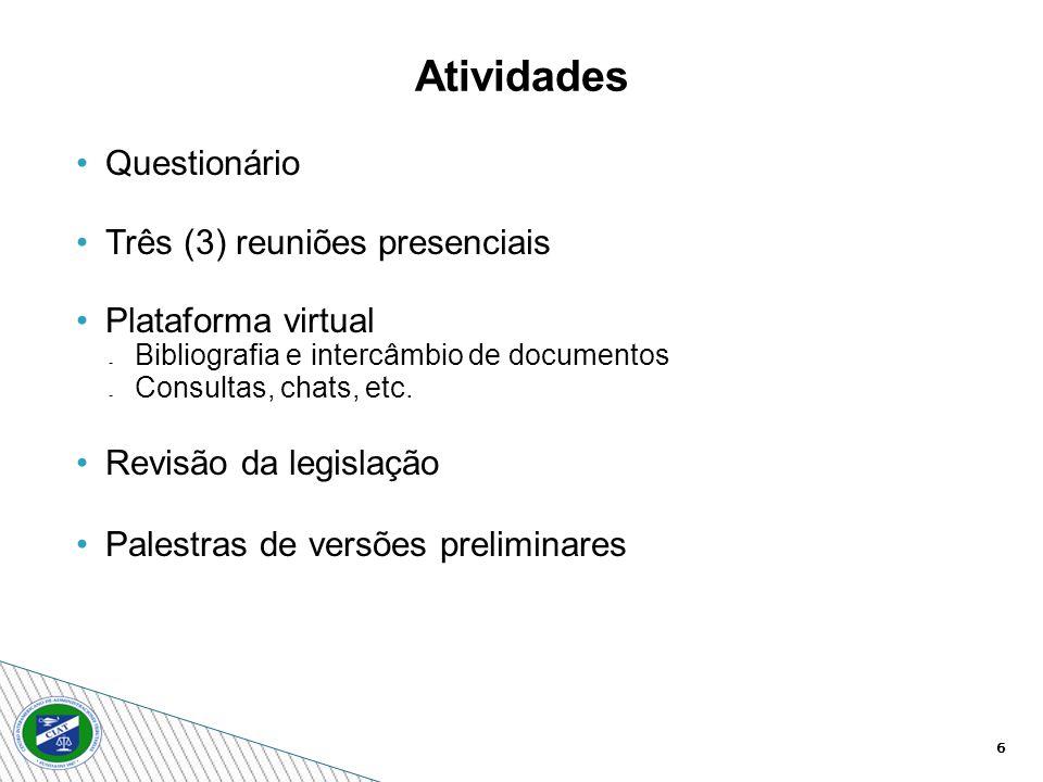 6 Atividades Questionário Três (3) reuniões presenciais Plataforma virtual Bibliografia e intercâmbio de documentos Consultas, chats, etc. Revisão da