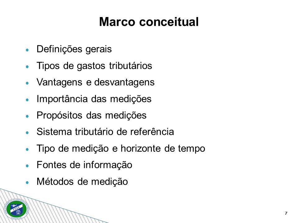 7 Definições gerais Tipos de gastos tributários Vantagens e desvantagens Importância das medições Propósitos das medições Sistema tributário de referência Tipo de medição e horizonte de tempo Fontes de informação Métodos de medição Marco conceitual
