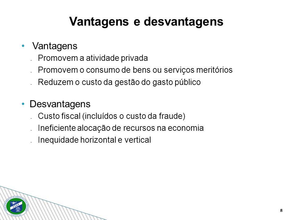 8 Vantagens e desvantagens Vantagens Promovem a atividade privada Promovem o consumo de bens ou serviços meritórios Reduzem o custo da gestão do gasto público Desvantagens Custo fiscal (incluídos o custo da fraude) Ineficiente alocação de recursos na economia Inequidade horizontal e vertical