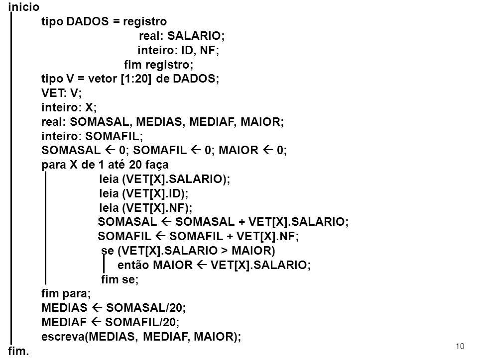 10 inicio tipo DADOS = registro real: SALARIO; inteiro: ID, NF; fim registro; tipo V = vetor [1:20] de DADOS; VET: V; inteiro: X; real: SOMASAL, MEDIA