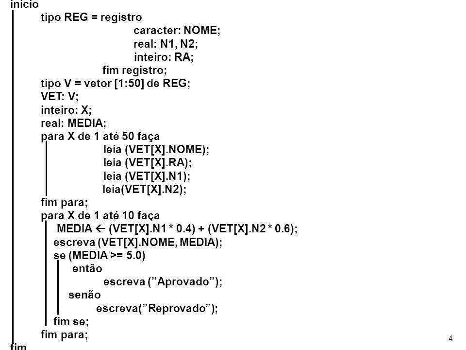 4 inicio tipo REG = registro caracter: NOME; real: N1, N2; inteiro: RA; fim registro; tipo V = vetor [1:50] de REG; VET: V; inteiro: X; real: MEDIA; p