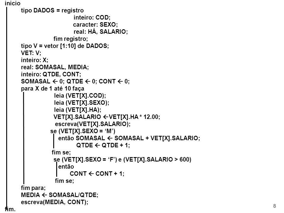 8 inicio tipo DADOS = registro inteiro: COD; caracter: SEXO; real: HÁ, SALARIO; fim registro; tipo V = vetor [1:10] de DADOS; VET: V; inteiro: X; real