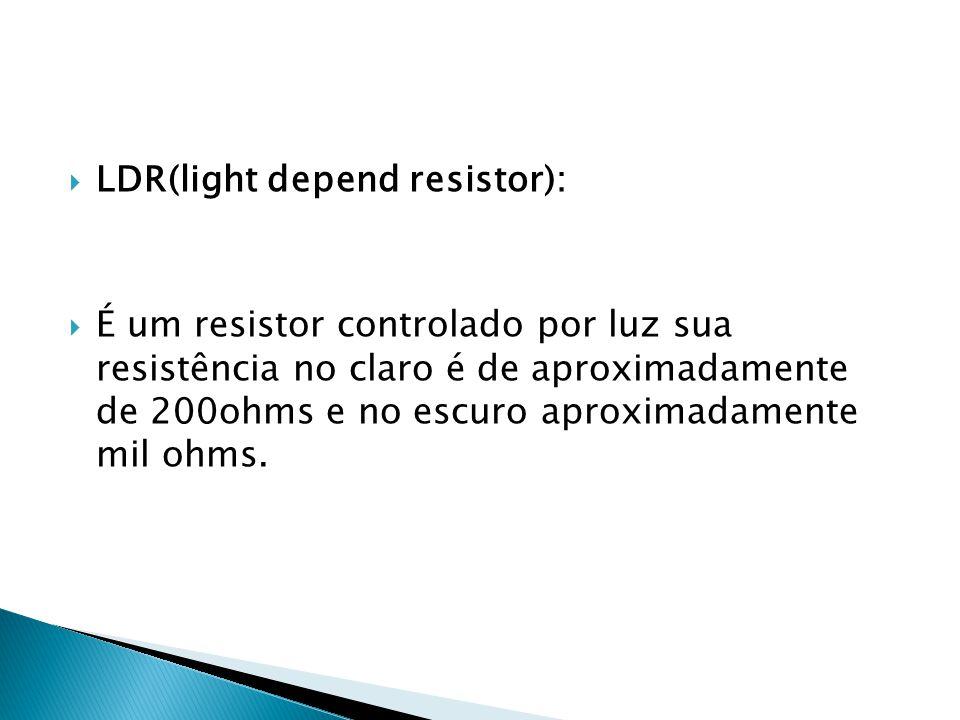LDR(light depend resistor): É um resistor controlado por luz sua resistência no claro é de aproximadamente de 200ohms e no escuro aproximadamente mil