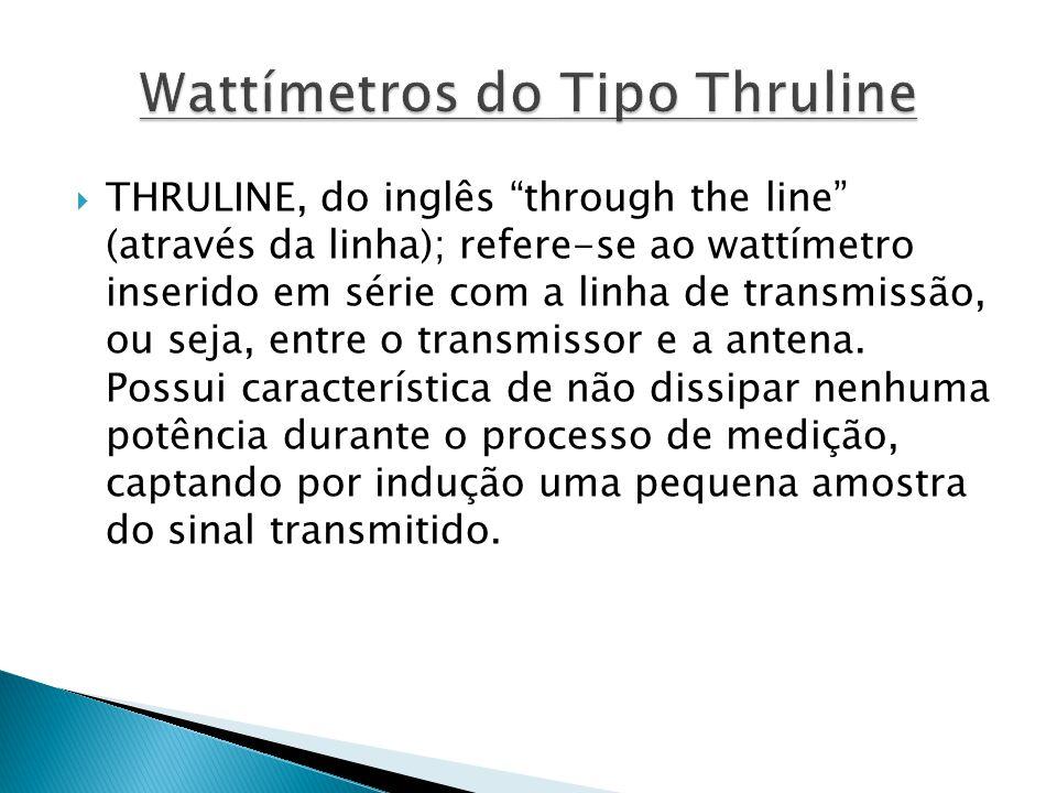 THRULINE, do inglês through the line (através da linha); refere-se ao wattímetro inserido em série com a linha de transmissão, ou seja, entre o transm