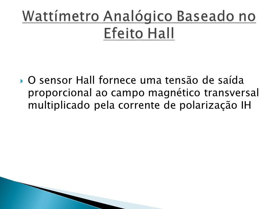 O sensor Hall fornece uma tensão de saída proporcional ao campo magnético transversal multiplicado pela corrente de polarização IH