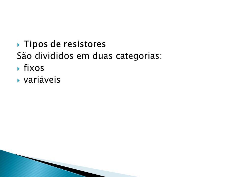 Tipos de resistores São divididos em duas categorias: fixos variáveis