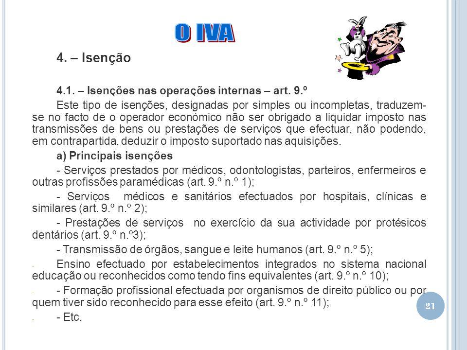 21 4. – Isenção 4.1. – Isenções nas operações internas – art. 9.º Este tipo de isenções, designadas por simples ou incompletas, traduzem- se no facto