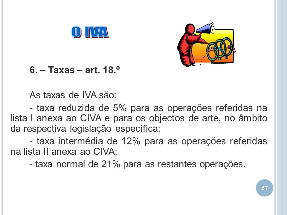 27 6. – Taxas – art. 18.º As taxas de IVA são: - taxa reduzida de 5% para as operações referidas na lista I anexa ao CIVA e para os objectos de arte,