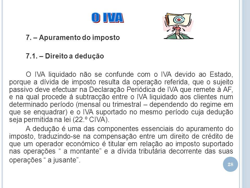 28 7. – Apuramento do imposto 7.1. – Direito a dedução O IVA liquidado não se confunde com o IVA devido ao Estado, porque a dívida de imposto resulta
