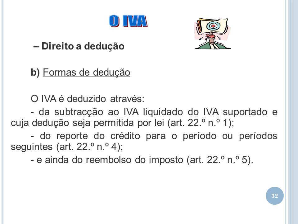 32 – Direito a dedução b) Formas de dedução O IVA é deduzido através: - da subtracção ao IVA liquidado do IVA suportado e cuja dedução seja permitida
