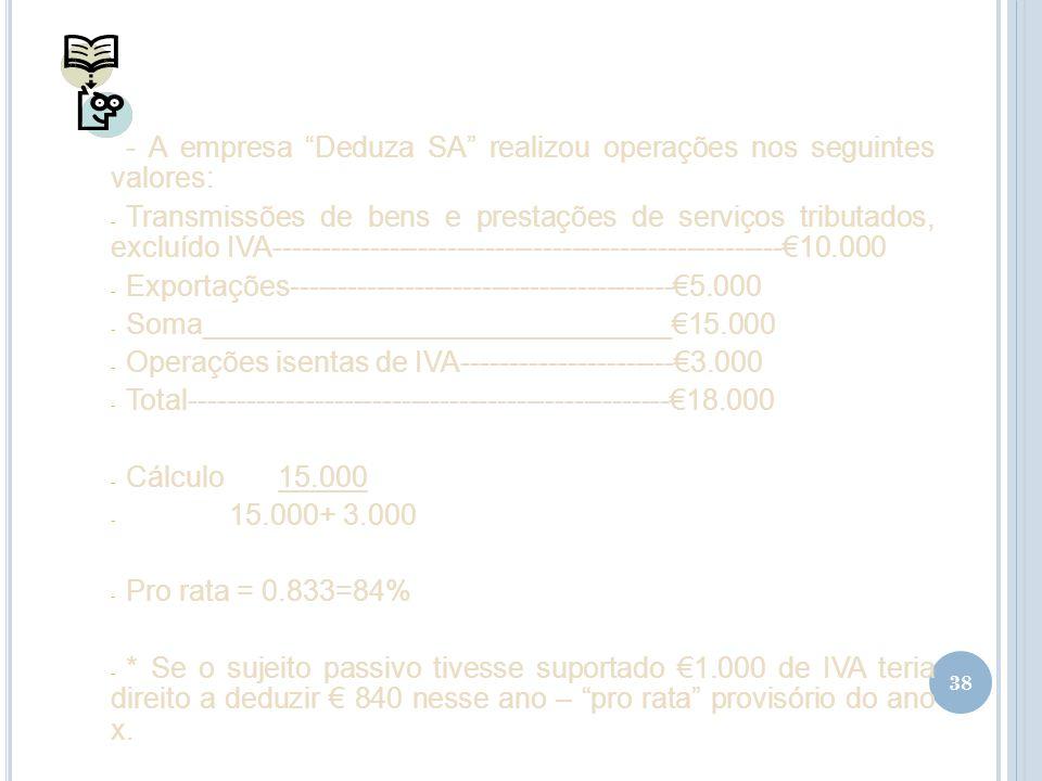 38 - A empresa Deduza SA realizou operações nos seguintes valores: - Transmissões de bens e prestações de serviços tributados, excluído IVA-----------