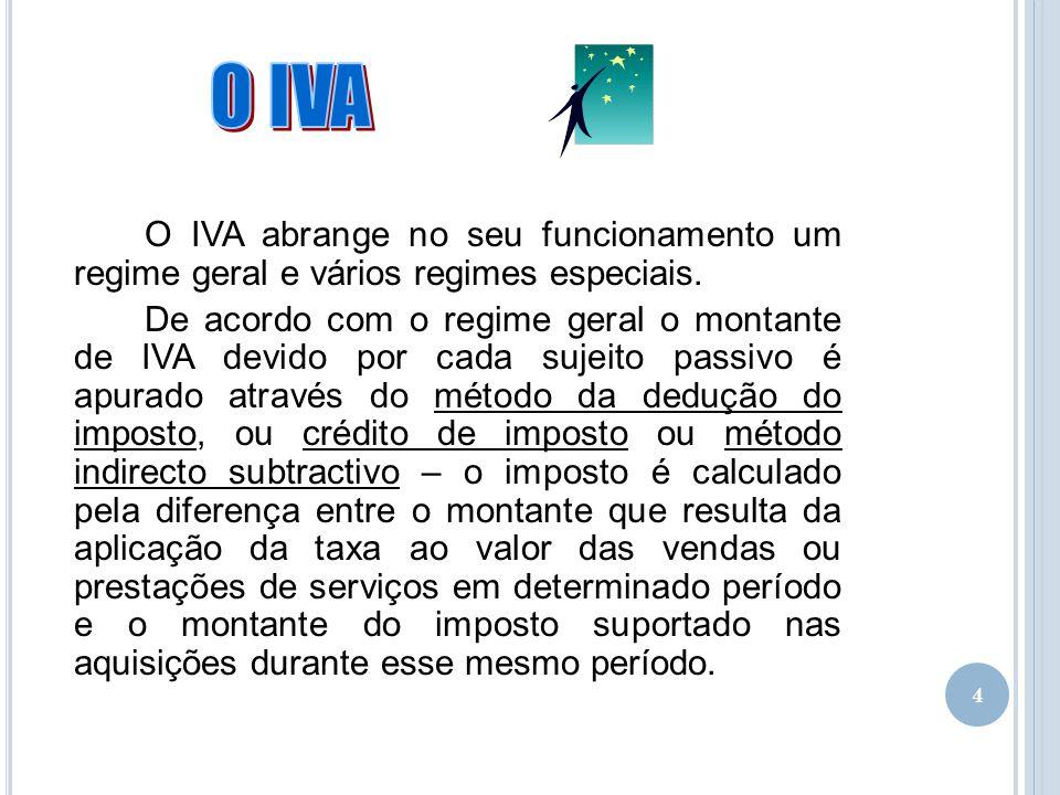 4 O IVA abrange no seu funcionamento um regime geral e vários regimes especiais. De acordo com o regime geral o montante de IVA devido por cada sujeit