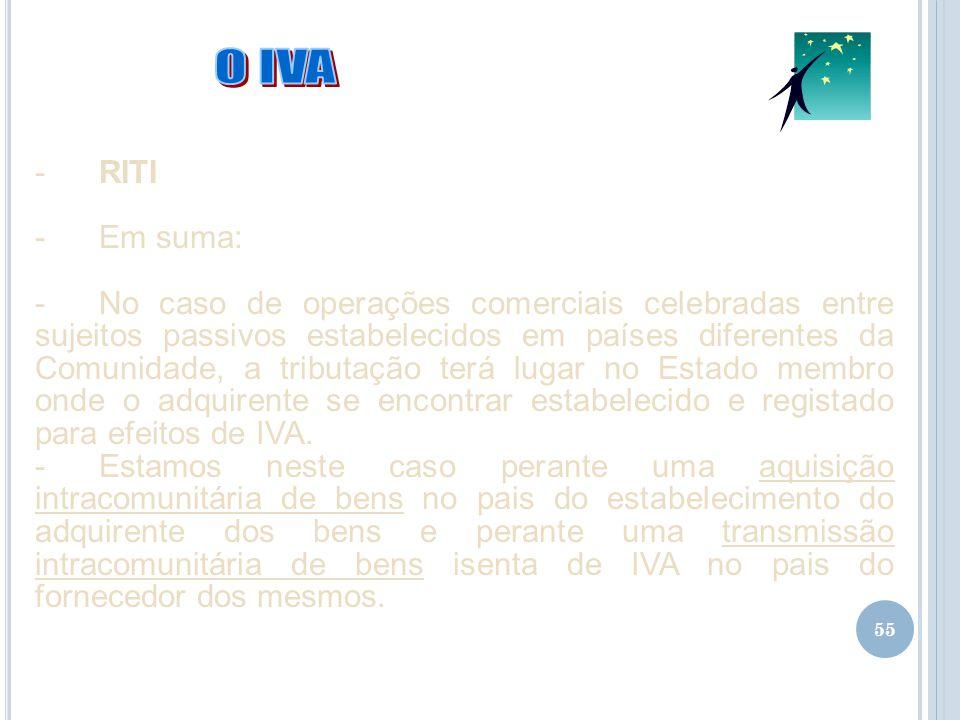 55 -RITI -Em suma: -No caso de operações comerciais celebradas entre sujeitos passivos estabelecidos em países diferentes da Comunidade, a tributação