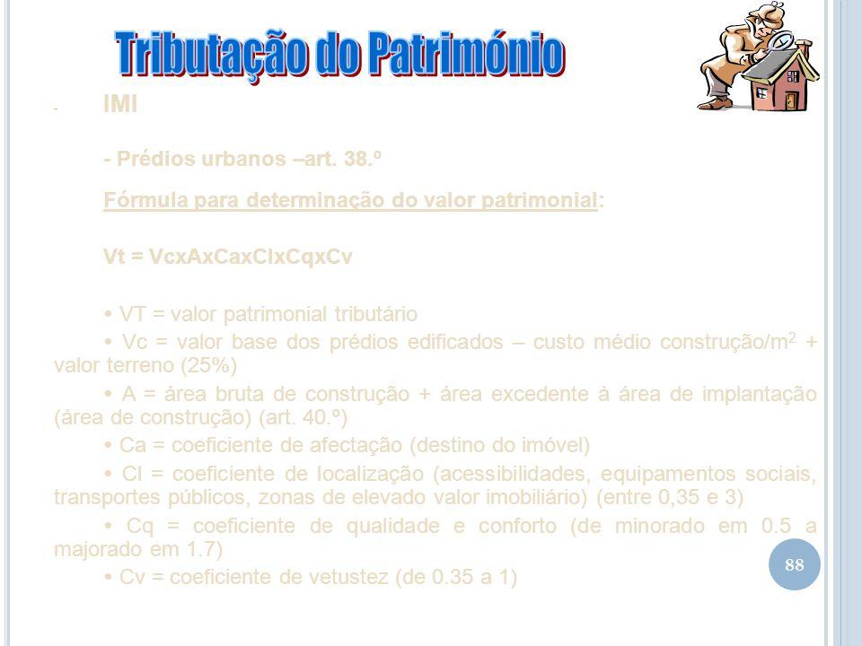 88 - IMI - Prédios urbanos –art. 38.º Fórmula para determinação do valor patrimonial: Vt = VcxAxCaxClxCqxCv VT = valor patrimonial tributário Vc = val
